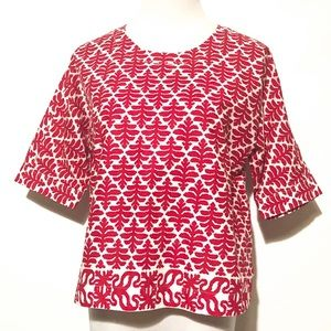 Madewell Red and White Pattern Cotton Top